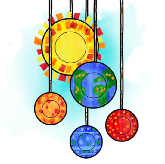 Manualidad con pictogramas: Móvil del sistema solar