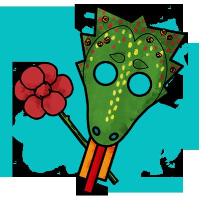 Manualidad con pictogramas: Máscara de dragón y rosa